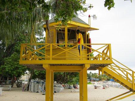 Lifeguard Tower, Barbados, Beach, Lifeguard