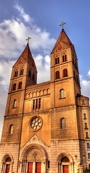 Sunset, Church, Sky, Continental, Building, Cathedral