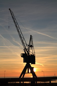 Netherlands, Harlingen, Crane, Harbour, Sunset