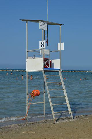 Lifeguard, Sea, Water, Blue, Summer, Italy, Waves