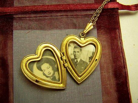 Vintage, Locket, 1930s, Antique, Jewelry, Old, Love