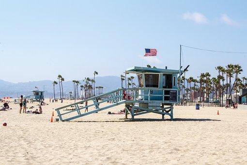 Beach, Lifeguard Tower, Los Angeles, Summer