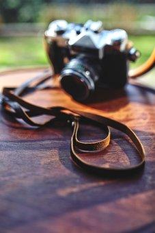 Leather, Strap, Camera, Vintage, Old, Wooden, Zenit