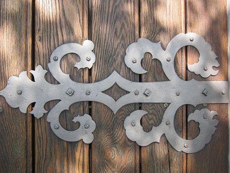 Fitting, Door, Wood, Metal, Artfully, Close, Ornament
