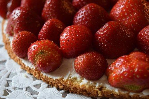 Strawberries, Strawberry Cake, Cake, Delicious, Sweet