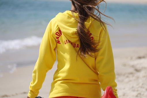 Lifeguard, Yellow, Vigilant, Mar, Waves, Beach