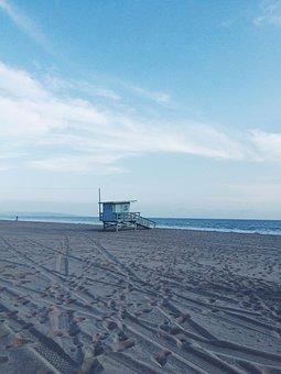 Lifeguard Booth, Empty, Beach, Water, Sky