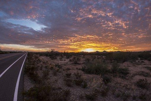 Arizona Road, Phoenix, Az, Desert, Sunset