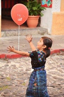 Girl, Balloon, Plaza, Happy, Antigua Guatemala, Playing
