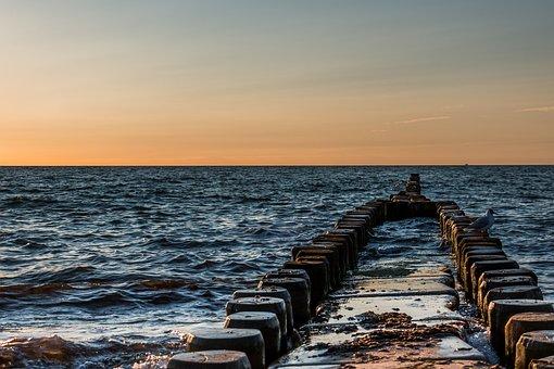 Ostseebad Ahrenshoop, Groynes, Baltic Sea, Water, Swim