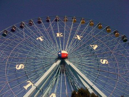 Texas, State, Fair, Ferris, Wheel, Dallas, Blue, Sky