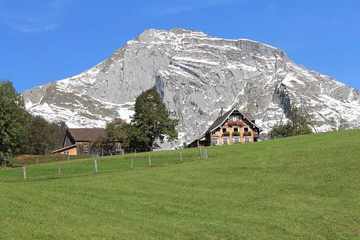 Chalet, Mountain, Switzerland, Alps, Landscape, Blue