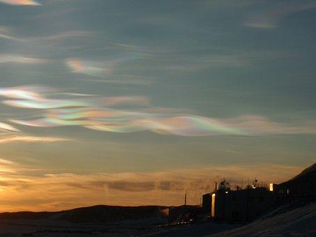 Nacreous, Clouds, Buildings, Antarctica, Atmosphere