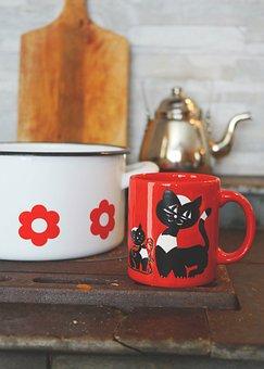 Cup, Coffee Cup, Coffee, Porcelain, Tableware, Enamel