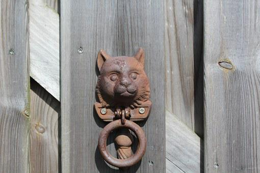 Knock, Gate, Cat, Old, Wood, Decoration, Doorknob, Home