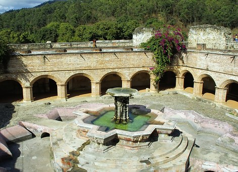 Guatemala, Antigua, Convent, Merced, Cloister, Fountain
