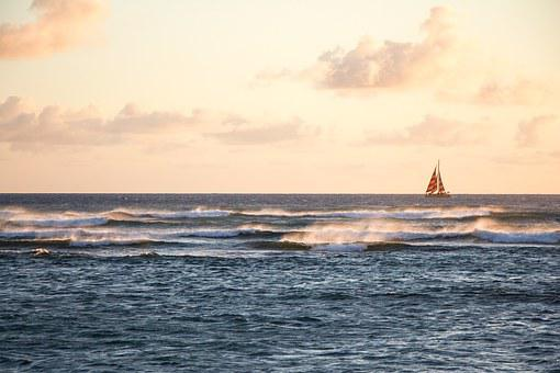 Hawaii, Sailboat, Sailing, Dusk, Waves, Sea, Ocean