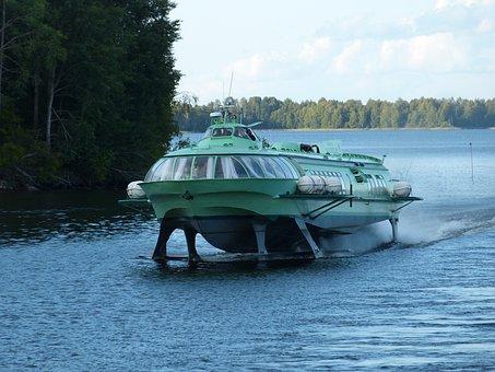 Lake Ladoga, Hydrofoil, Powerboat, Ship, Russia, Lake
