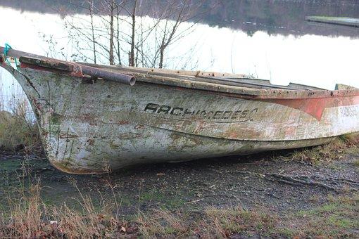 Boat, Lake, Broken, Rowboat, Water, Salvaged