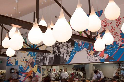 Lamps, Interior Design, Restaurant, Kitchen, Open
