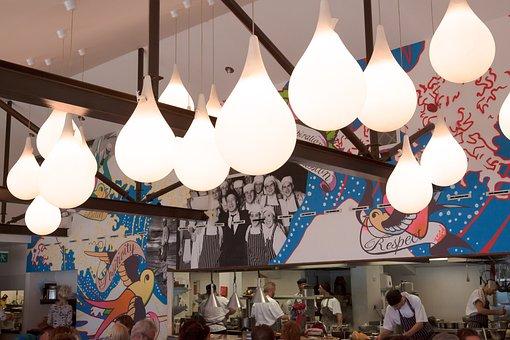 Lamps, Interior Design, Restaurant, Kitchen, Open