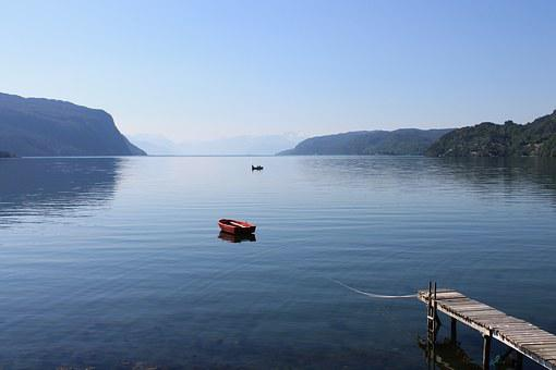 Norway, Ship, Rowboat, Panorama, Fjord, Water, Pier
