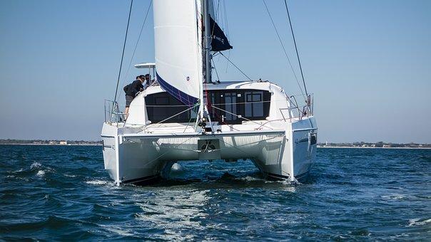 Catamaran, Sail, Water, Water Sports, Sea, Maneuver