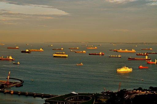 Boats, Water, Twilight, Singapore, Travel, Ship