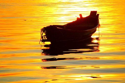 Boat, Sunny, Yellow, Summer, Water, Sea, Travel