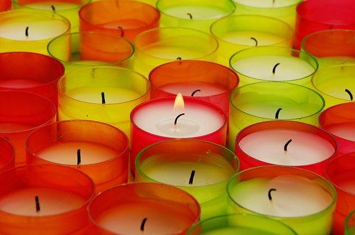 Tea Lights, Light, Flame, Candles, Colorful, Burn