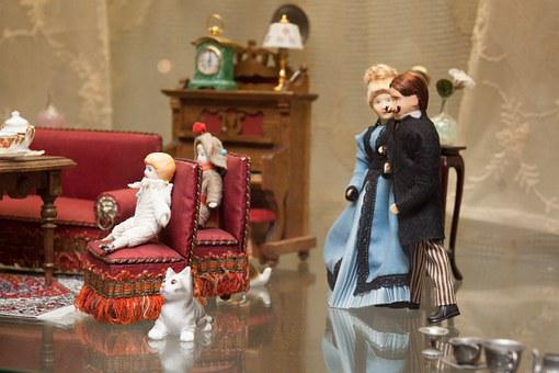 Living Room, Man, Woman, Children, Cat, Toys, Old