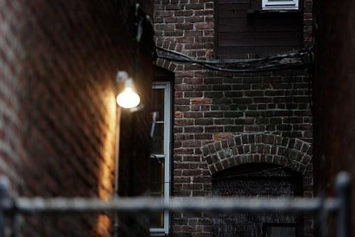 Bricks, Walls, Urban, Lamp, Night, Light, House