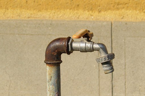 Faucet, Line, Water Pipe, Oxidized, Gland, Pipes