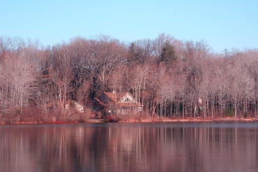 Michigan, Lake House, Lake, Winter, Reflection