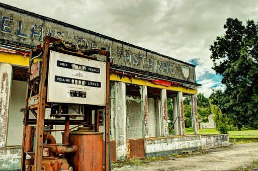 Gas Station, Service Station, Pump, Rust, Abandoned