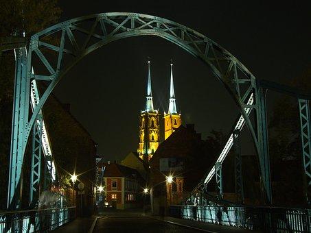 Ostrów Tumski, Wrocław, Bridge, City, Architecture