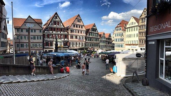 Tübingen, City, Marketplace, Baden Württemberg, Germany