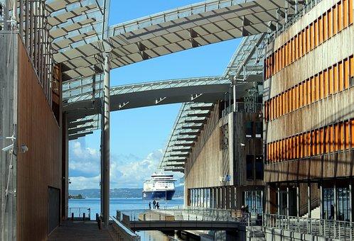Oslo, Norway, Port, Oslofjord, City, Modern, Building