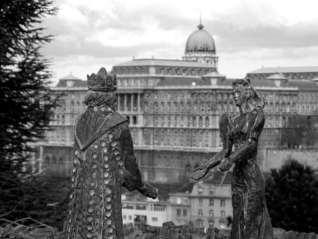 Budapest, Castle, King, Queen, Black-and -white
