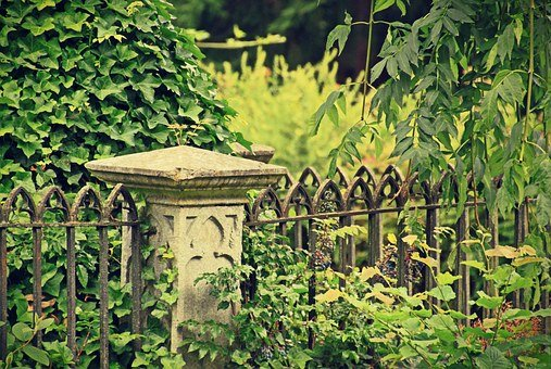 Cemetery, Tomb, Stone Base, Grave, Fence, Metal Fence
