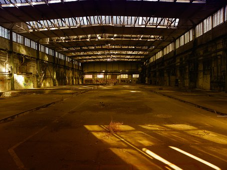 Industrial Hall, Factory Building, Hall, Factory, Ruin