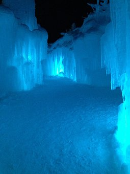 Ice Cave, Cave, Ice Castle, Ice, Blue, Icicles, White