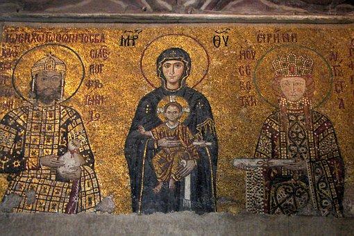 Mary, Jesus, St John The Baptist, Religion, Mosaic