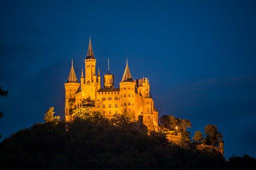 Castle, Hohenzollern, Night, Fortress, Germany