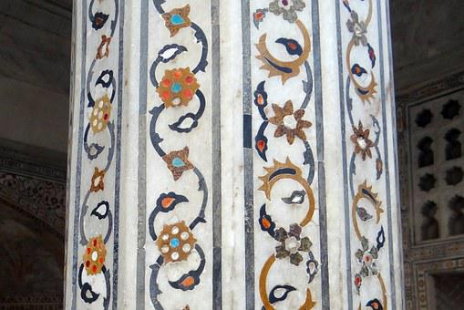 Pillar, Interior, Marble Inlay, Precious Stones Inlaid