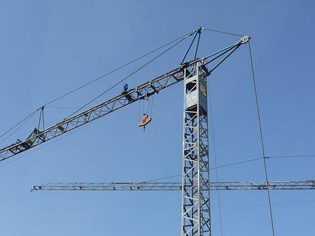Site, Crane, House Construction, Running Rail