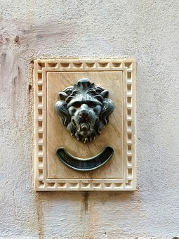 Doorbell, Venice, Old, Lion, Vintage