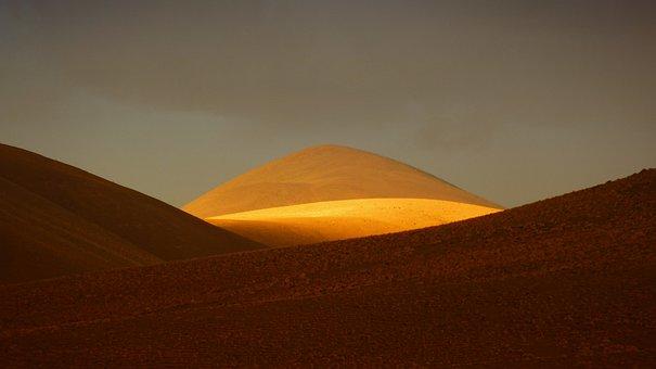 Hill, Mountain, Andes, Sunlight, Golden, Dessert, Sand