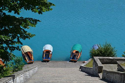 Lake, Bled, Boats, Ladder, Blue Water, Slovenia