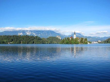 Lake Bled, Slovenia, Landscape, Mountains, Lake